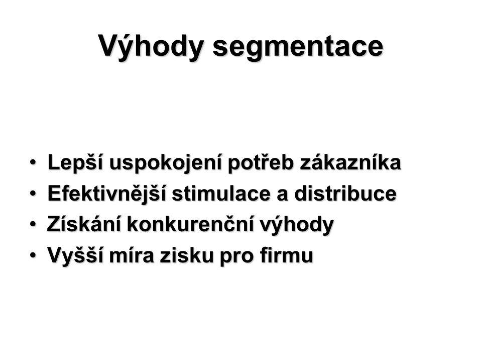 Hlediska segmentace Trh lze rozčlenit podle mnoha hledisek, která jsou mnohdy ve vzájemné kombinaci: GeografickáGeografická DemografickáDemografická Psychologicko – sociálníPsychologicko – sociální