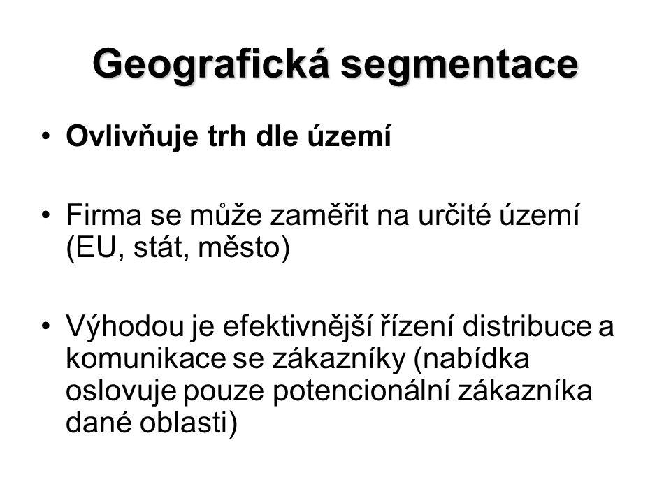 Geografická segmentace Ovlivňuje trh dle území Firma se může zaměřit na určité území (EU, stát, město) Výhodou je efektivnější řízení distribuce a komunikace se zákazníky (nabídka oslovuje pouze potencionální zákazníka dané oblasti)