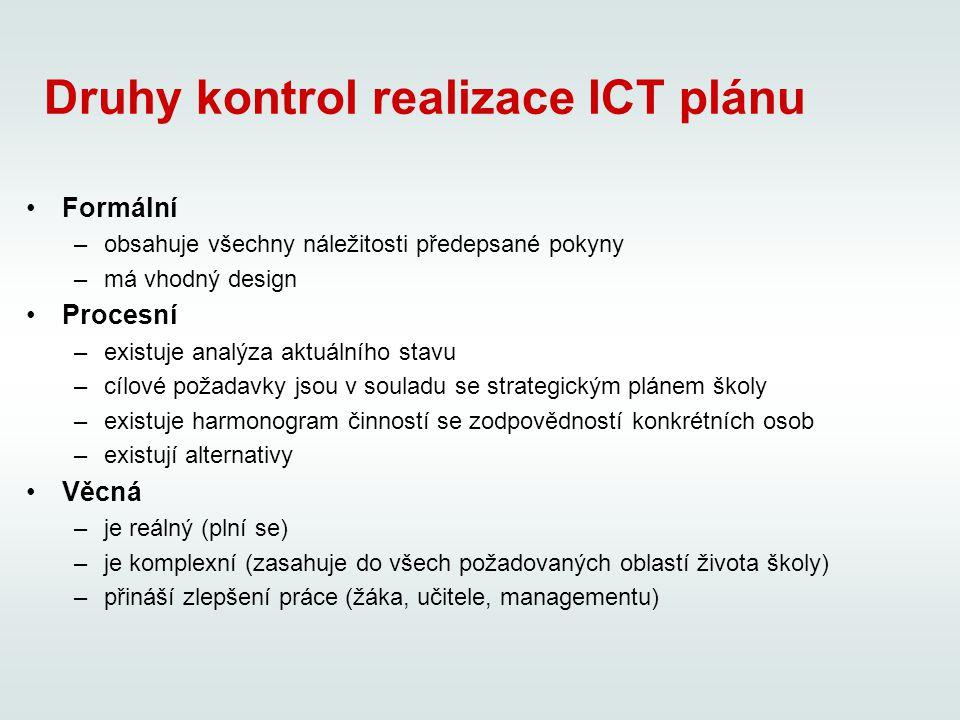 Druhy kontrol realizace ICT plánu Formální –obsahuje všechny náležitosti předepsané pokyny –má vhodný design Procesní –existuje analýza aktuálního stavu –cílové požadavky jsou v souladu se strategickým plánem školy –existuje harmonogram činností se zodpovědností konkrétních osob –existují alternativy Věcná –je reálný (plní se) –je komplexní (zasahuje do všech požadovaných oblastí života školy) –přináší zlepšení práce (žáka, učitele, managementu)