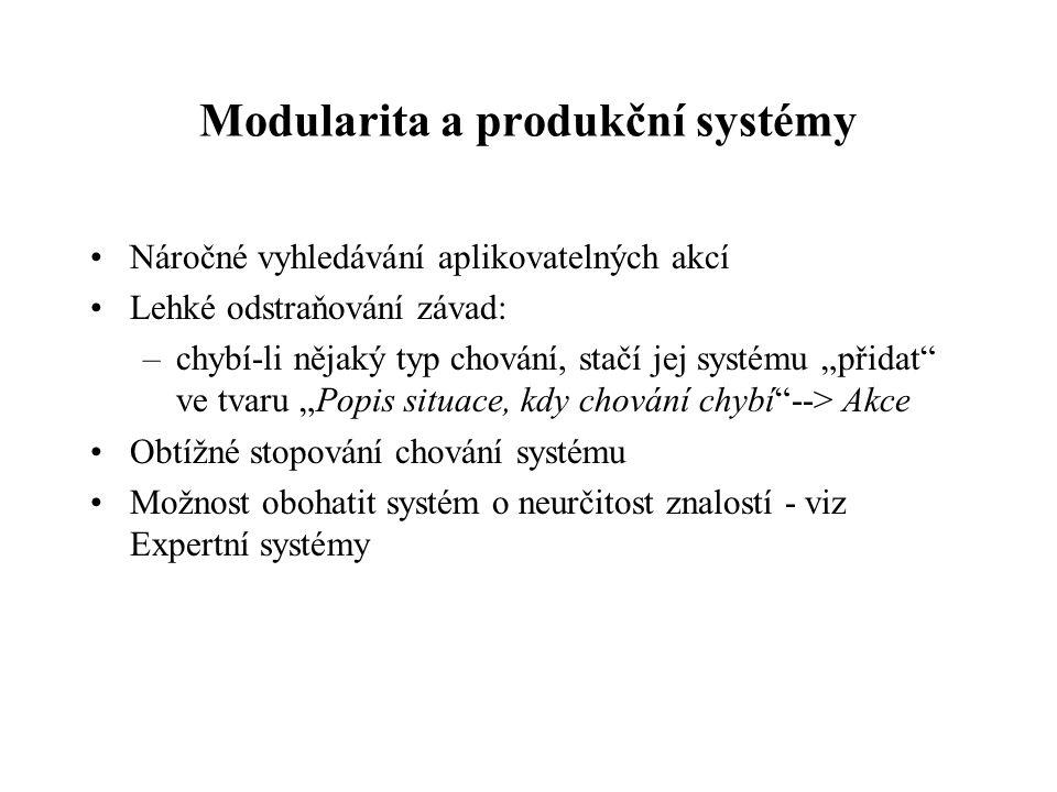 """Modularita a produkční systémy Náročné vyhledávání aplikovatelných akcí Lehké odstraňování závad: –chybí-li nějaký typ chování, stačí jej systému """"přidat ve tvaru """"Popis situace, kdy chování chybí --> Akce Obtížné stopování chování systému Možnost obohatit systém o neurčitost znalostí - viz Expertní systémy"""