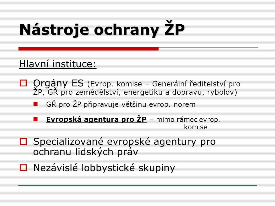 Nástroje ochrany ŽP Hlavní instituce:  Orgány ES (Evrop. komise – Generální ředitelství pro ŽP, GŘ pro zemědělství, energetiku a dopravu, rybolov) GŘ