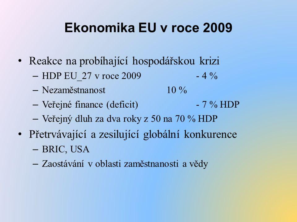 Ekonomika EU v roce 2009 Reakce na probíhající hospodářskou krizi – HDP EU_27 v roce 2009 - 4 % – Nezaměstnanost10 % – Veřejné finance (deficit)- 7 % HDP – Veřejný dluh za dva roky z 50 na 70 % HDP Přetrvávající a zesilující globální konkurence – BRIC, USA – Zaostávání v oblasti zaměstnanosti a vědy