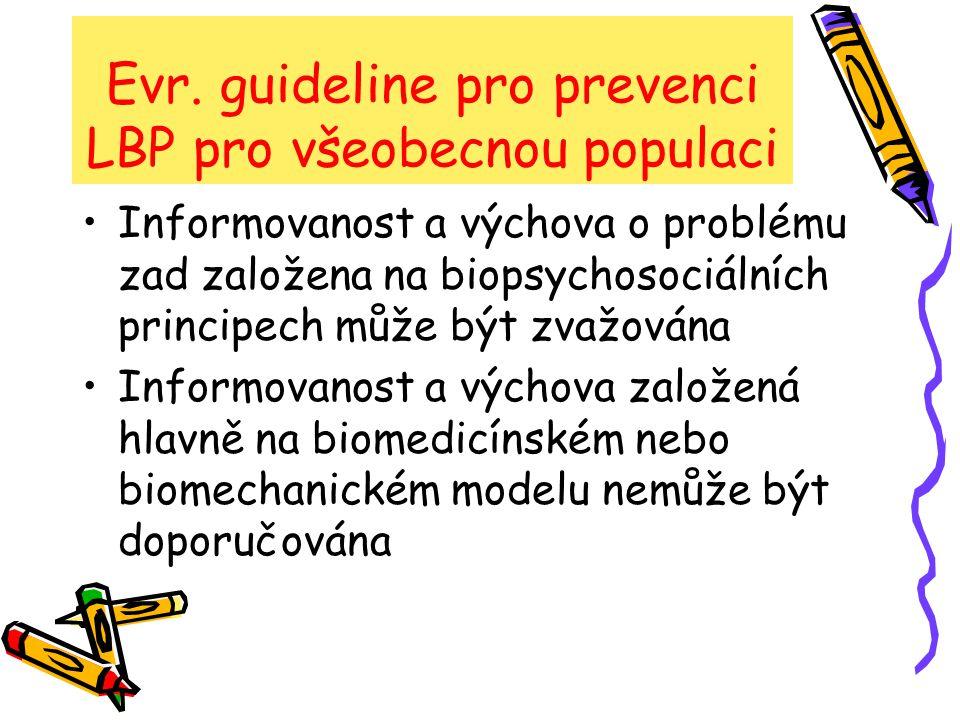 Evr. guideline pro prevenci LBP pro všeobecnou populaci Informovanost a výchova o problému zad založena na biopsychosociálních principech může být zva