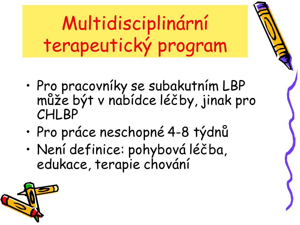Multidisciplinární terapeutický program Intenzivní rehabilitace – různé výsledky Redukuje disabilitu skore z 15,5 na 8,6 (30st.