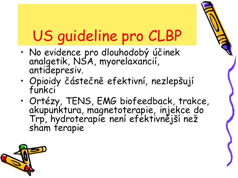 US guideline pro CLBP Manipulační terapie efektivnější než sham Chirurg.