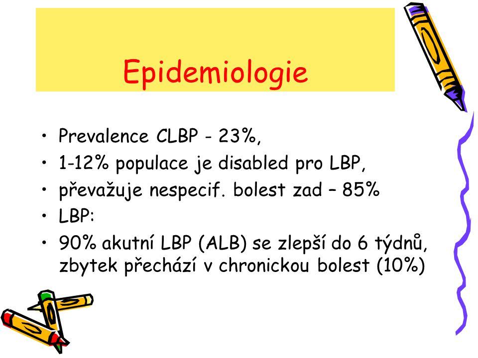 Klasifikace low back pain Lumbago Bolestivý sy s kořenovým drážděním Neurogenní klaudikace Chronický LBP Kostní bolest Zánětlivá křížová bolest Failed back surgery sy Neoplasmata