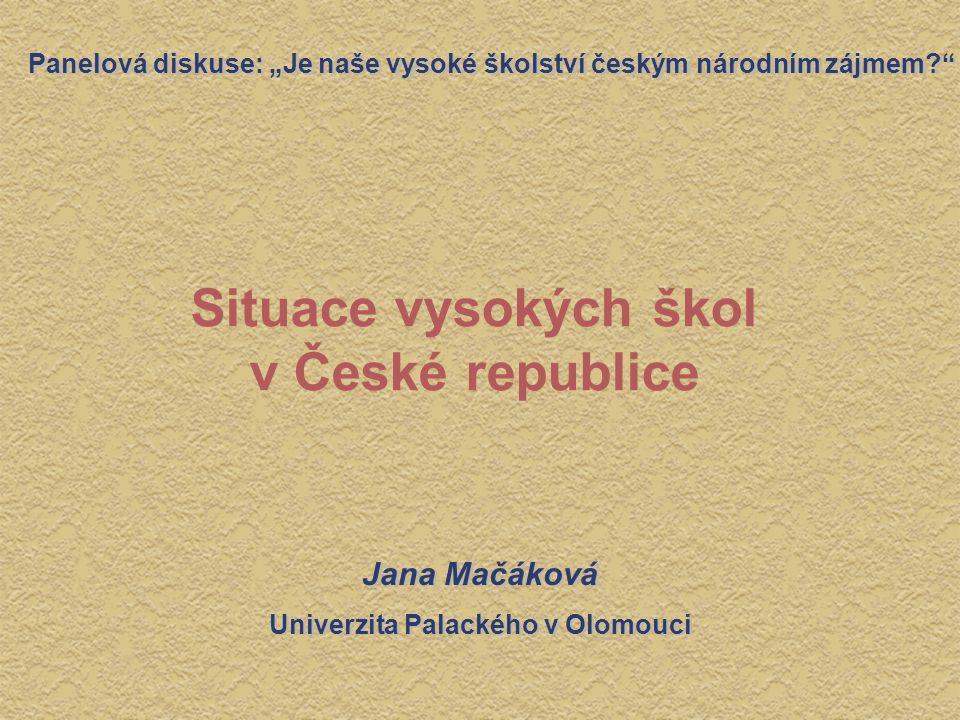 """Situace vysokých škol v České republice Panelová diskuse: """"Je naše vysoké školství českým národním zájmem?"""" Jana Mačáková Univerzita Palackého v Olomo"""