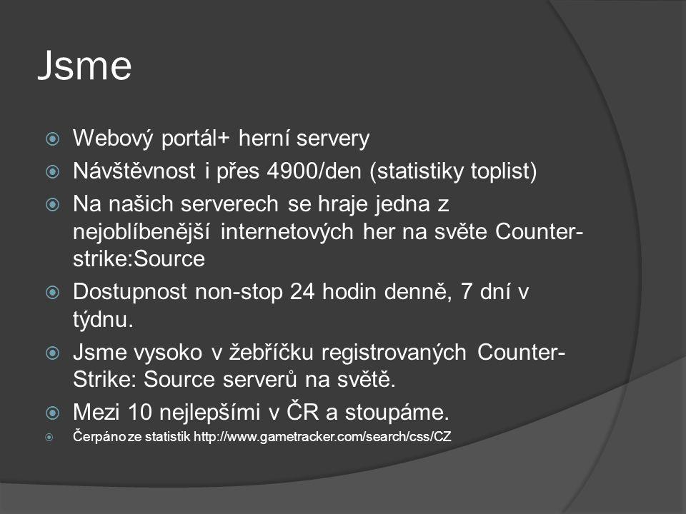 Jsme  Webový portál+ herní servery  Návštěvnost i přes 4900/den (statistiky toplist)  Na našich serverech se hraje jedna z nejoblíbenější internetových her na světe Counter- strike:Source  Dostupnost non-stop 24 hodin denně, 7 dní v týdnu.