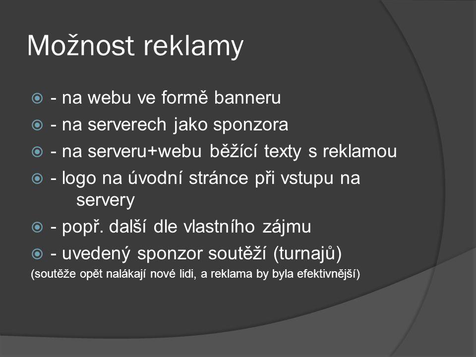 Možnost reklamy  - na webu ve formě banneru  - na serverech jako sponzora  - na serveru+webu běžící texty s reklamou  - logo na úvodní stránce při vstupu na servery  - popř.