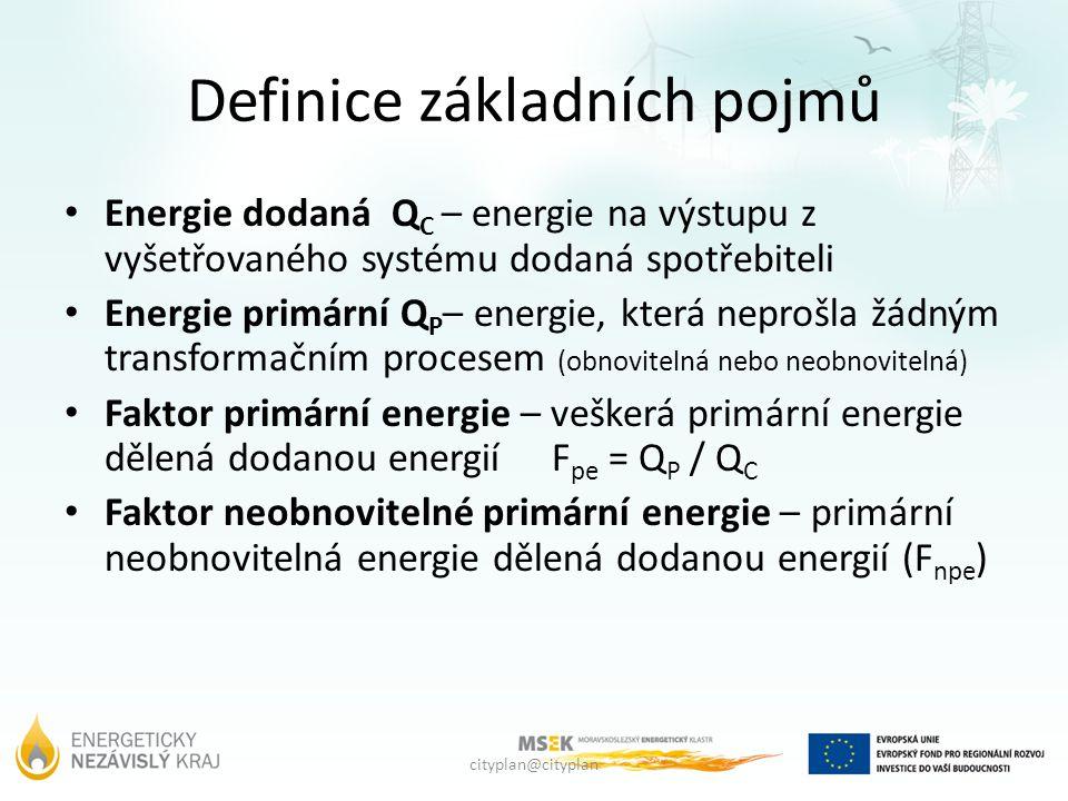 cityplan@cityplan Definice základních pojmů Energie dodaná Q C – energie na výstupu z vyšetřovaného systému dodaná spotřebiteli Energie primární Q P – energie, která neprošla žádným transformačním procesem (obnovitelná nebo neobnovitelná) Faktor primární energie – veškerá primární energie dělená dodanou energií F pe = Q P / Q C Faktor neobnovitelné primární energie – primární neobnovitelná energie dělená dodanou energií (F npe )