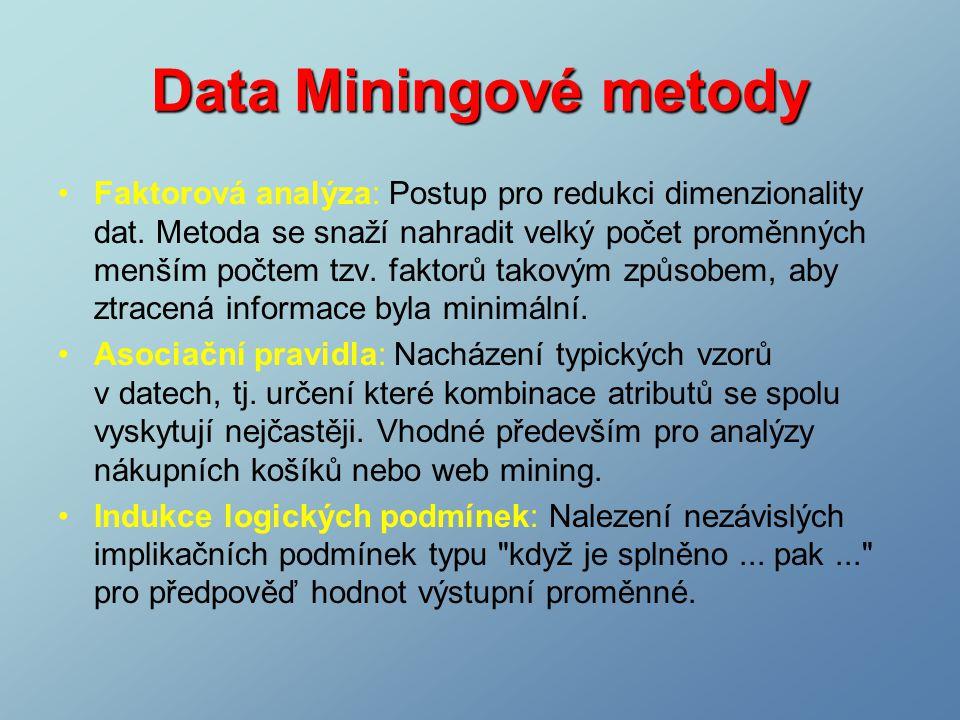 Faktorová analýza: Postup pro redukci dimenzionality dat.