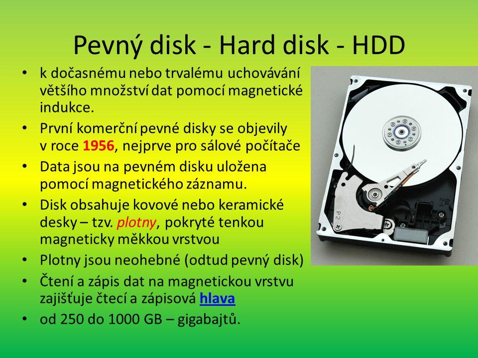 Pevný disk - Hard disk - HDD k dočasnému nebo trvalému uchovávání většího množství dat pomocí magnetické indukce.