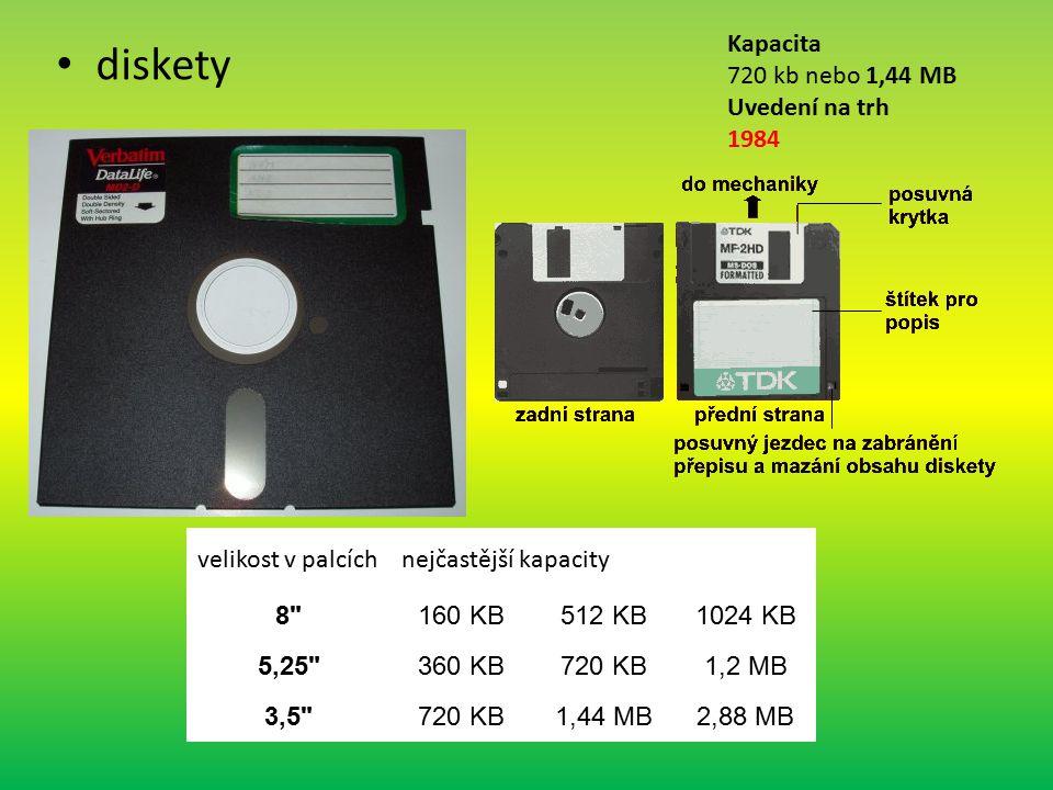 diskety Kapacita 720 kb nebo 1,44 MB Uvedení na trh 1984 velikost v palcíchnejčastější kapacity 8 160 KB512 KB1024 KB 5,25 360 KB720 KB1,2 MB 3,5 720 KB1,44 MB2,88 MB