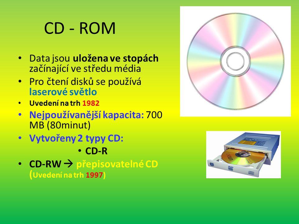 CD - ROM Data jsou uložena ve stopách začínající ve středu média Pro čtení disků se používá laserové světlo Uvedení na trh 1982 Nejpoužívanější kapacita: 700 MB (80minut) Vytvořeny 2 typy CD: CD-R CD-RW  přepisovatelné CD ( Uvedení na trh 1997)