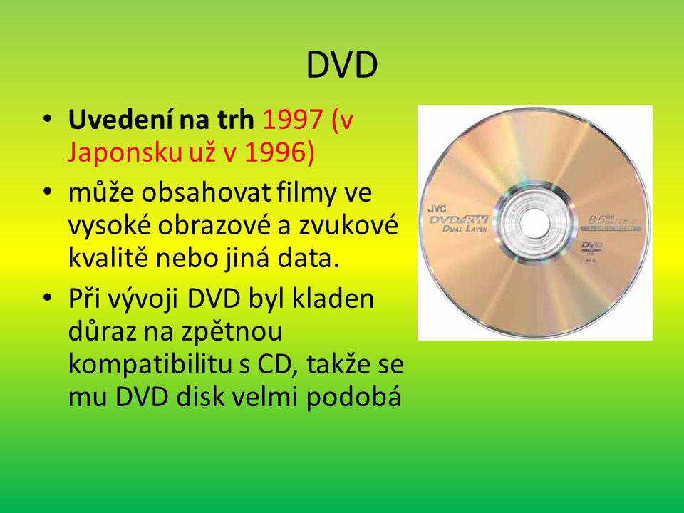 DVD Uvedení na trh 1997 (v Japonsku už v 1996) může obsahovat filmy ve vysoké obrazové a zvukové kvalitě nebo jiná data.