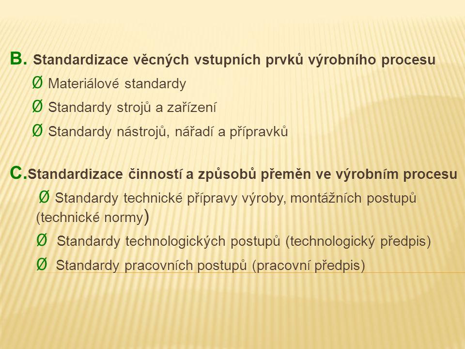 B. Standardizace věcných vstupních prvků výrobního procesu Ø Materi á lov é standardy Ø Standardy strojů a zař í zen í Ø Standardy n á strojů, n á řad