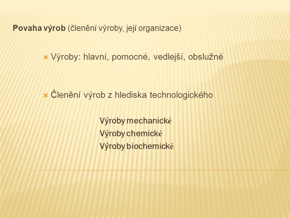 Povaha výrob (členěn í výroby, jej í organizace)  Výroby: hlavní, pomocné, vedlejší, obslužné  Členění výrob z hlediska technologického Výroby mecha