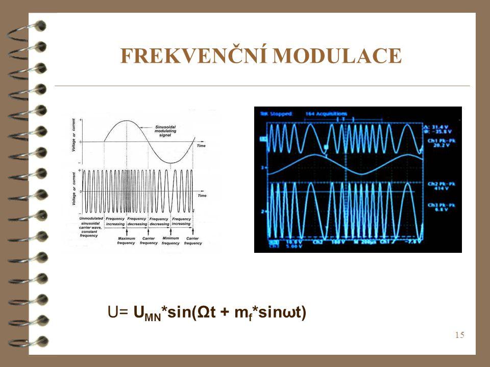 15 FREKVENČNÍ MODULACE U= U MN *sin(Ωt + m f *sinωt)