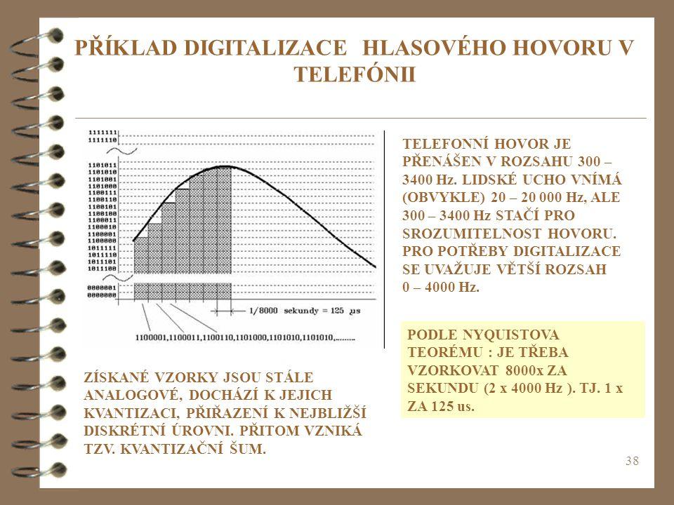 38 PŘÍKLAD DIGITALIZACE HLASOVÉHO HOVORU V TELEFÓNII TELEFONNÍ HOVOR JE PŘENÁŠEN V ROZSAHU 300 – 3400 Hz. LIDSKÉ UCHO VNÍMÁ (OBVYKLE) 20 – 20 000 Hz,