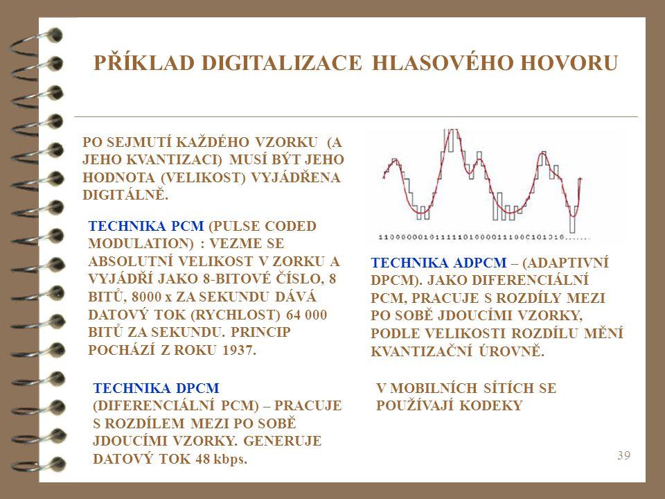 39 PŘÍKLAD DIGITALIZACE HLASOVÉHO HOVORU PO SEJMUTÍ KAŽDÉHO VZORKU (A JEHO KVANTIZACI) MUSÍ BÝT JEHO HODNOTA (VELIKOST) VYJÁDŘENA DIGITÁLNĚ. TECHNIKA