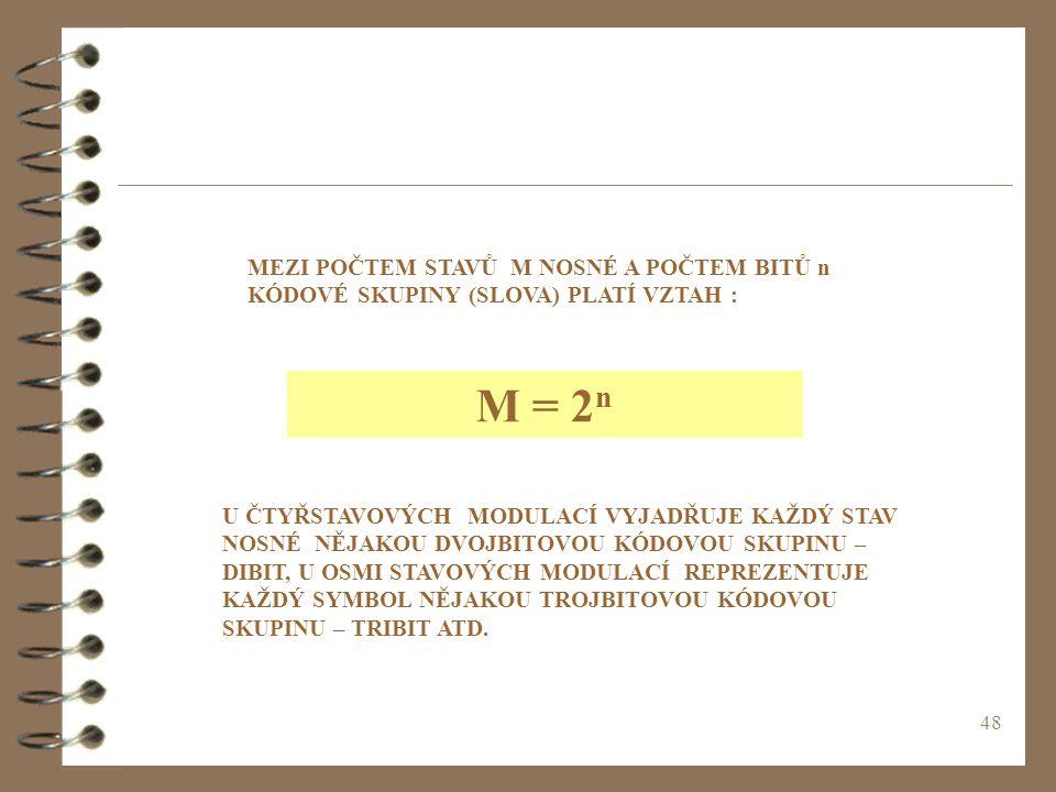 48 MEZI POČTEM STAVŮ M NOSNÉ A POČTEM BITŮ n KÓDOVÉ SKUPINY (SLOVA) PLATÍ VZTAH : M = 2 n U ČTYŘSTAVOVÝCH MODULACÍ VYJADŘUJE KAŽDÝ STAV NOSNÉ NĚJAKOU