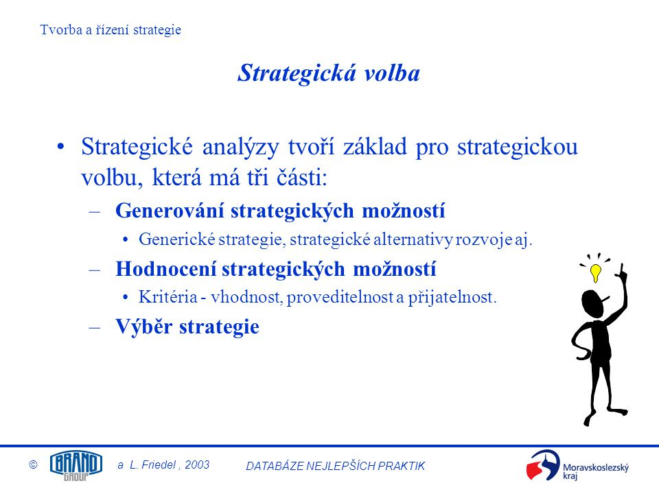 Tvorba a řízení strategie © a L. Friedel, 2003 DATABÁZE NEJLEPŠÍCH PRAKTIK Strategická volba Strategické analýzy tvoří základ pro strategickou volbu,