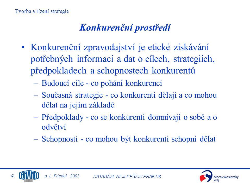 Tvorba a řízení strategie © a L. Friedel, 2003 DATABÁZE NEJLEPŠÍCH PRAKTIK Konkurenční prostředí Konkurenční zpravodajství je etické získávání potřebn