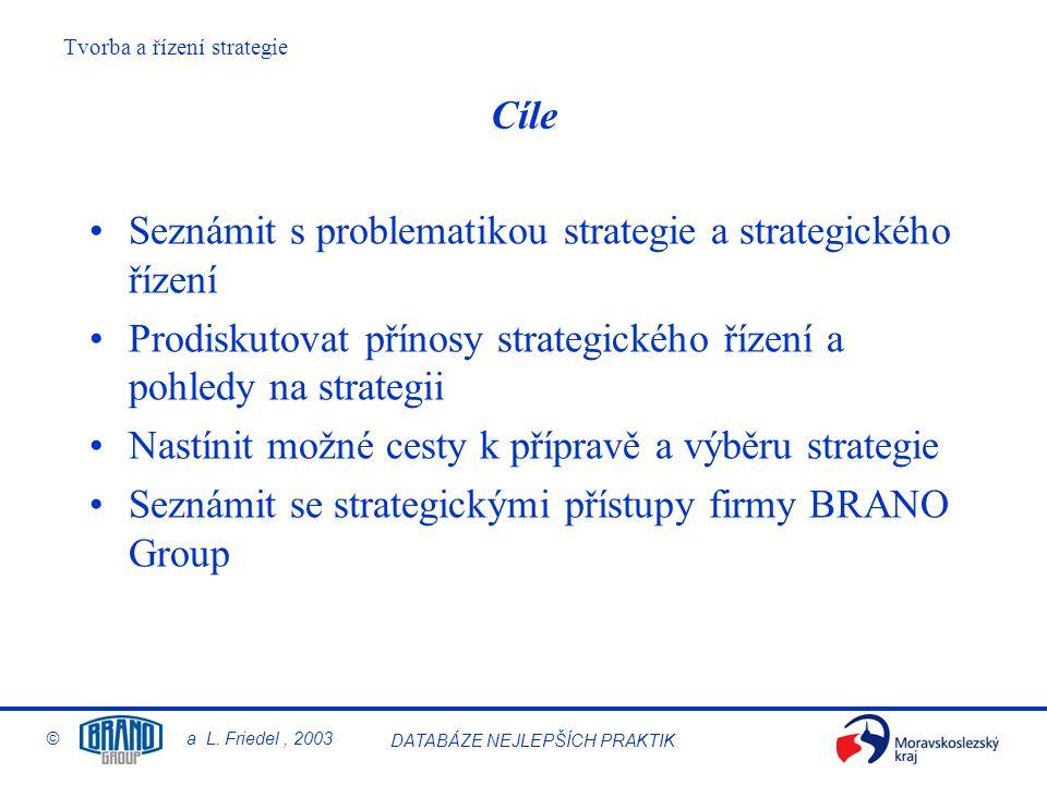 Tvorba a řízení strategie © a L. Friedel, 2003 DATABÁZE NEJLEPŠÍCH PRAKTIK Cíle Seznámit s problematikou strategie a strategického řízení Prodiskutova