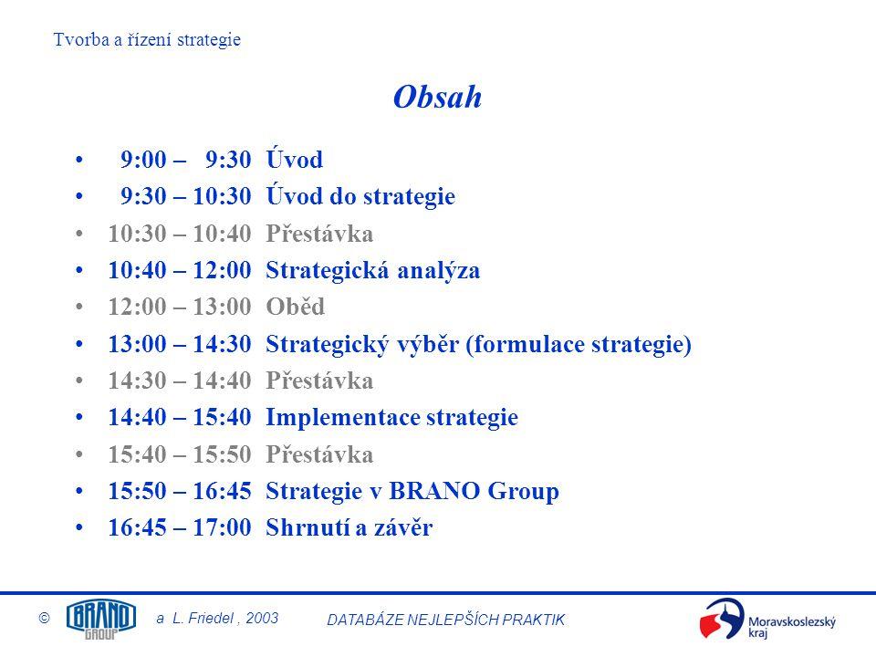 Tvorba a řízení strategie © a L.Friedel, 2003 DATABÁZE NEJLEPŠÍCH PRAKTIK AFTERMARKET s.r.o.