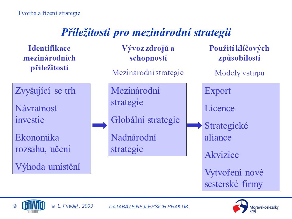 Tvorba a řízení strategie © a L. Friedel, 2003 DATABÁZE NEJLEPŠÍCH PRAKTIK Příležitosti pro mezinárodní strategii Zvyšující se trh Návratnost investic