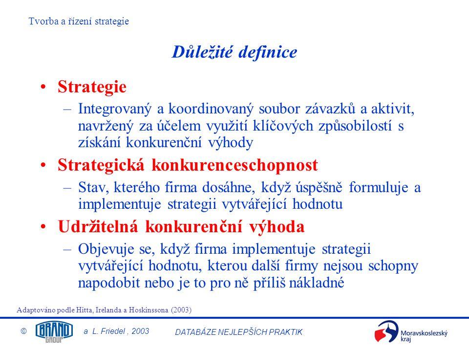 Tvorba a řízení strategie © a L.Friedel, 2003 DATABÁZE NEJLEPŠÍCH PRAKTIK 1.KÁMEN 3.