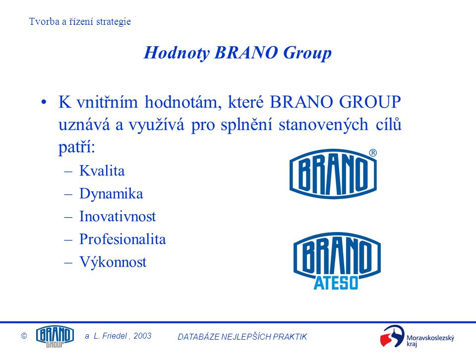 Tvorba a řízení strategie © a L. Friedel, 2003 DATABÁZE NEJLEPŠÍCH PRAKTIK K vnitřním hodnotám, které BRANO GROUP uznává a využívá pro splnění stanove