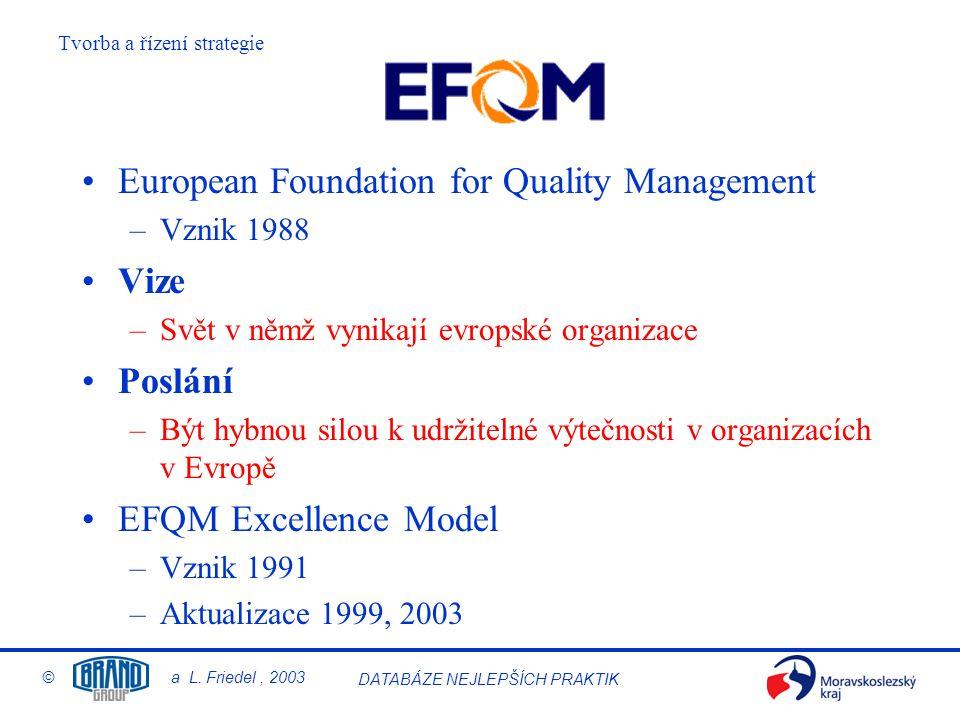 Tvorba a řízení strategie © a L.Friedel, 2003 DATABÁZE NEJLEPŠÍCH PRAKTIK 2.