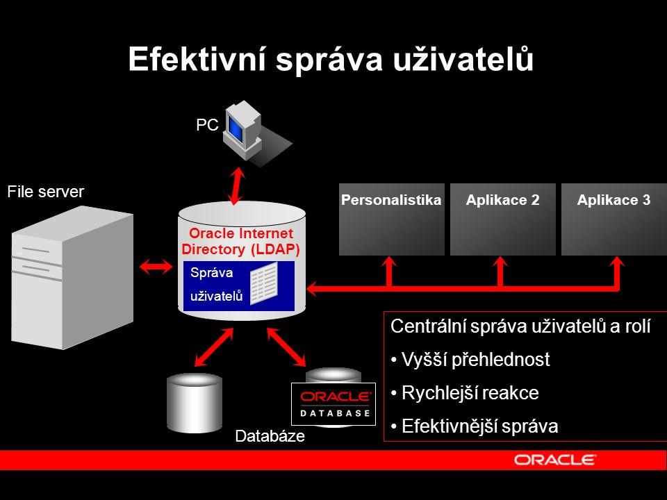 Efektivní správa uživatelů Aplikace 2Aplikace 3 File server Databáze Oracle Internet Directory (LDAP) Správa uživatelů PC Personalistika Správa uživatelů Centrální správa uživatelů a rolí Vyšší přehlednost Rychlejší reakce Efektivnější správa