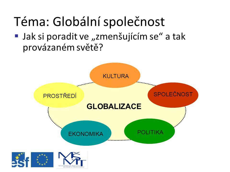 Podtéma: Udržitelný rozvoj  Jak najít rovnováhu mezi ekonomickým rozvojem států – životním prostředím, které negativně ovlivňujeme – sociálními rozdíly, které existují.