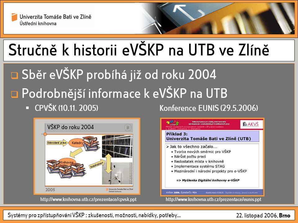 Systémy pro zpřístupňování VŠKP : zkušenosti, možnosti, nabídky, potřeby... 22. listopad 2006, Brno Stručně k historii eVŠKP na UTB ve Zlíně  Sběr eV