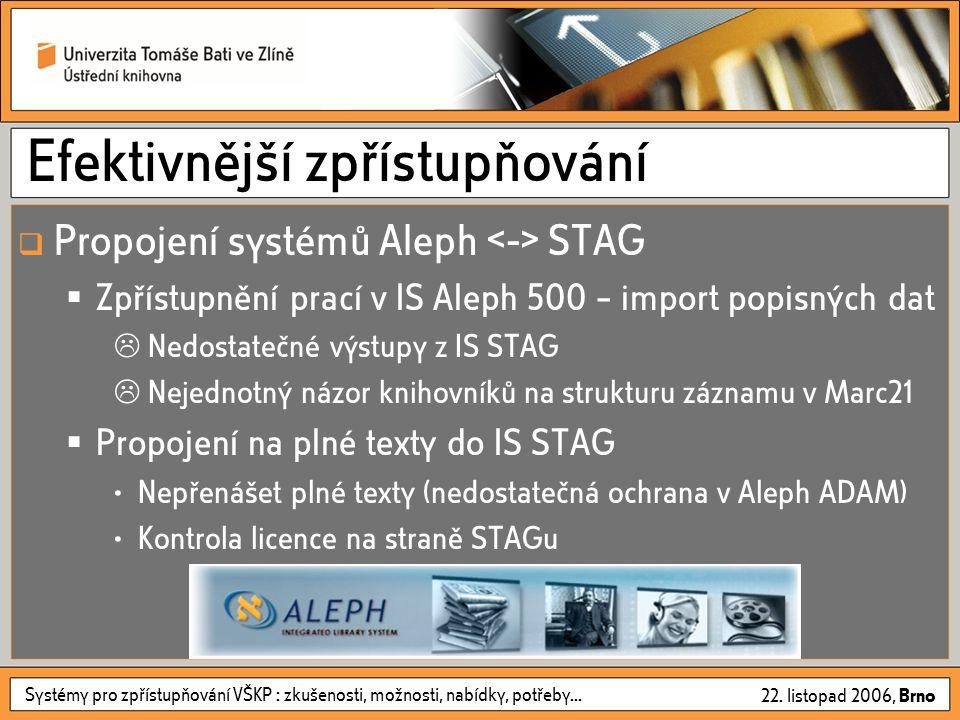 Systémy pro zpřístupňování VŠKP : zkušenosti, možnosti, nabídky, potřeby... 22. listopad 2006, Brno Efektivnější zpřístupňování  Propojení systémů Al
