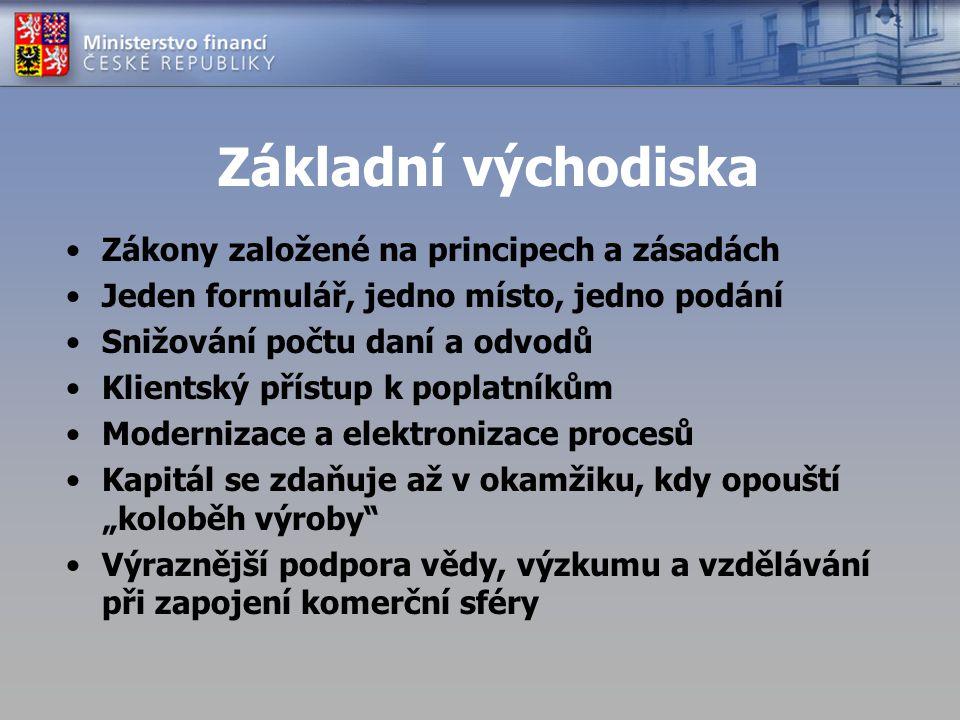 """Hmota – ZDP (1) Snížení počtu daní (zrušení trojdaně) Systematika a přehlednost (syntetika a analytika) Snížení počtu a sjednocení vyměřovacích základů pro daně a odvody FO Zjednodušení stanovení ZD (neměnnost) Zrušení """"neodůvodněných osvobození příjmů (zachování systémových + vládní priority) Vlády budou měnit pouze parametry (výše odečitatelných položek, sazby), ne systematiku"""