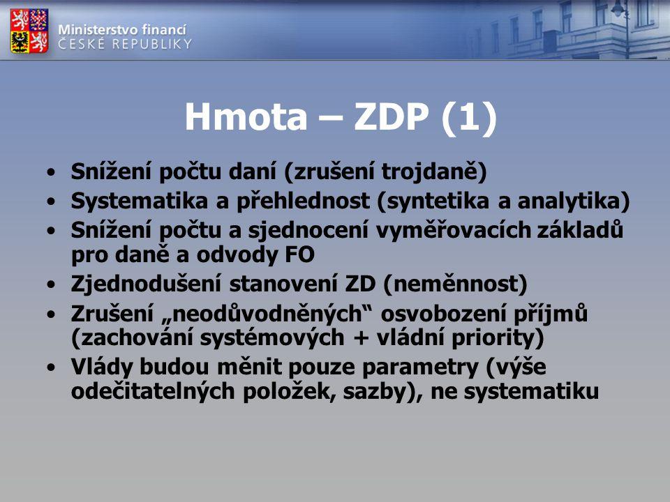 Hmota – ZDP (1) Snížení počtu daní (zrušení trojdaně) Systematika a přehlednost (syntetika a analytika) Snížení počtu a sjednocení vyměřovacích základ
