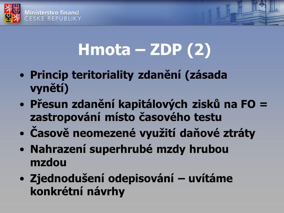 Hmota – ZDP (2) Princip teritoriality zdanění (zásada vynětí) Přesun zdanění kapitálových zisků na FO = zastropování místo časového testu Časově neome