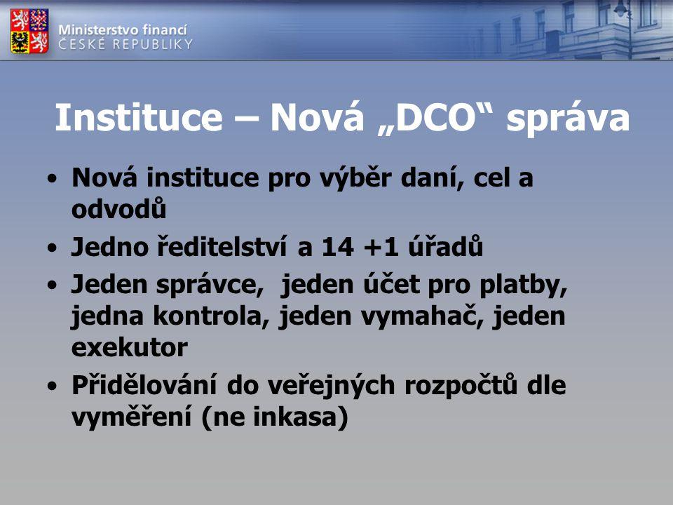 """Instituce – Nová """"DCO"""" správa Nová instituce pro výběr daní, cel a odvodů Jedno ředitelství a 14 +1 úřadů Jeden správce, jeden účet pro platby, jedna"""