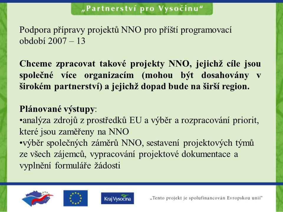 Plánované výsledky: zvýšená absorpční kapacita NNS prohloubení spolupráce NNO (zamezení ztrát z konkurenčních snah, prohloubení partnerských svazků) efektivnější vynakládání prostředků na tvorbu projektů vytvoření vzorových projektů (příklad pro ostatní) zlepšení dovedností souvisejících s přípravou projektů u zástupců organizací, kteří se budou na tvorbě projektů podílet sdílená důvěra ve vlastní vytvořené projekty rozložení nákladů na kofinancování projektů mezi partnery vyvrácení představ o nekonzistentním sektoru NNO, který není schopný své zájmy sjednotit