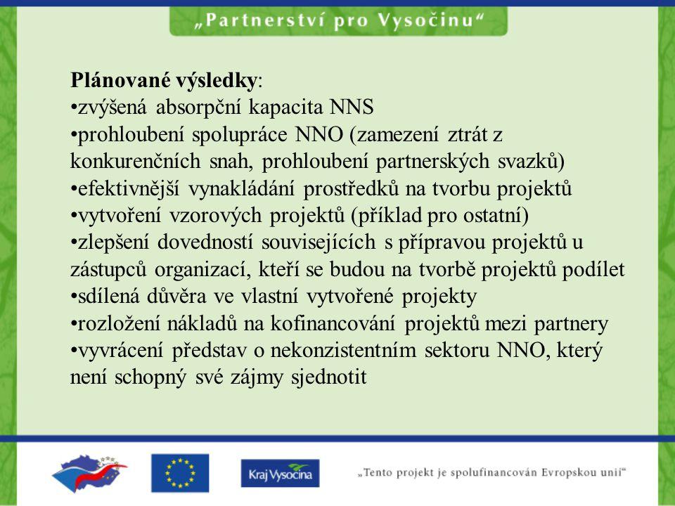 Plánované výsledky: zvýšená absorpční kapacita NNS prohloubení spolupráce NNO (zamezení ztrát z konkurenčních snah, prohloubení partnerských svazků) e