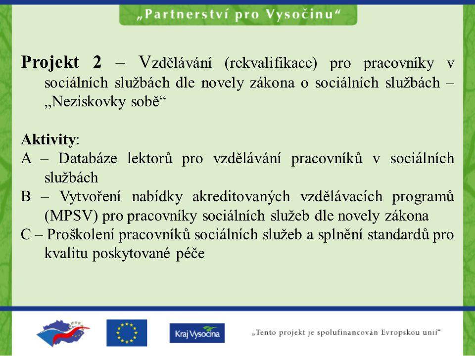 """Projekt 2 – V zdělávání (rekvalifikace) pro pracovníky v sociálních službách dle novely zákona o sociálních službách – """"Neziskovky sobě Aktivity: A – Databáze lektorů pro vzdělávání pracovníků v sociálních službách B – Vytvoření nabídky akreditovaných vzdělávacích programů (MPSV) pro pracovníky sociálních služeb dle novely zákona C – Proškolení pracovníků sociálních služeb a splnění standardů pro kvalitu poskytované péče"""