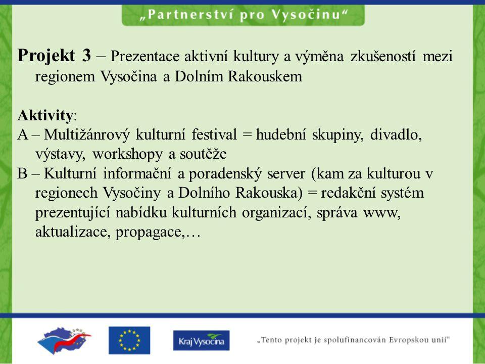 Projekt 3 – Prezentace aktivní kultury a výměna zkušeností mezi regionem Vysočina a Dolním Rakouskem Aktivity: A – Multižánrový kulturní festival = hu