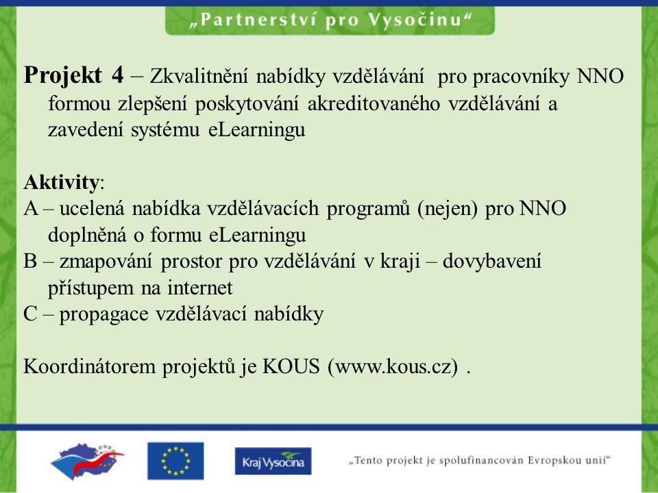 Projekt 4 – Zkvalitnění nabídky vzdělávání pro pracovníky NNO formou zlepšení poskytování akreditovaného vzdělávání a zavedení systému eLearningu Aktivity: A – ucelená nabídka vzdělávacích programů (nejen) pro NNO doplněná o formu eLearningu B – zmapování prostor pro vzdělávání v kraji – dovybavení přístupem na internet C – propagace vzdělávací nabídky Koordinátorem projektů je KOUS (www.kous.cz).