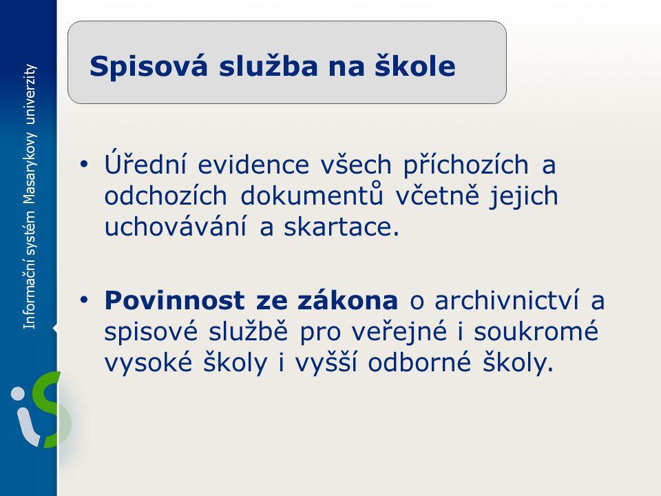 Informační systém Masarykovy univerzity Spisová služba na škole Úřední evidence všech příchozích a odchozích dokumentů včetně jejich uchovávání a skartace.