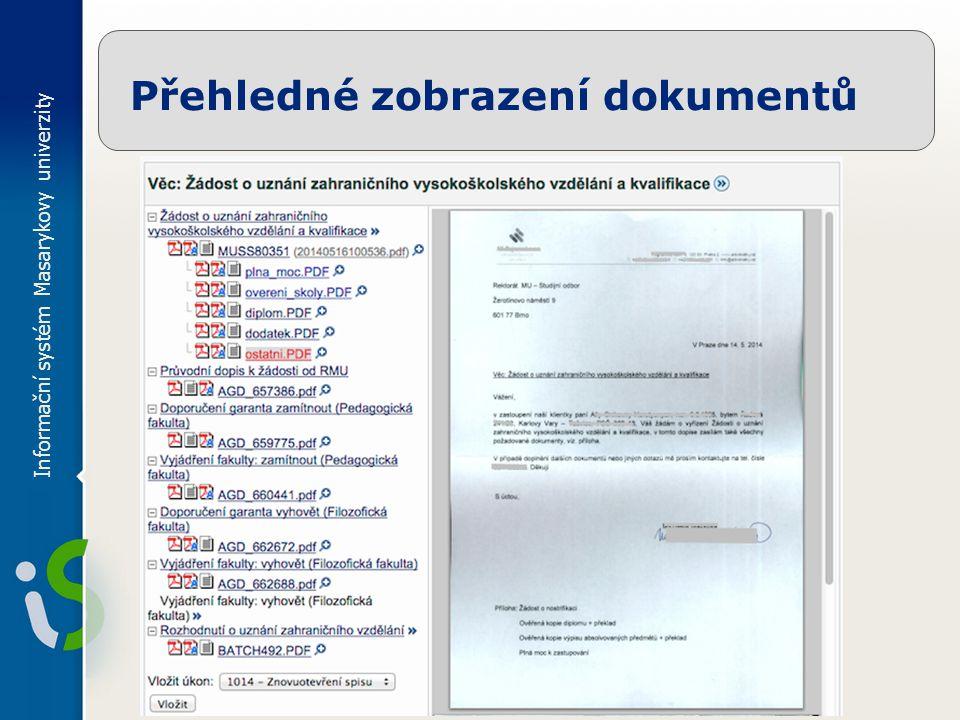 Informační systém Masarykovy univerzity Přehledné zobrazení dokumentů