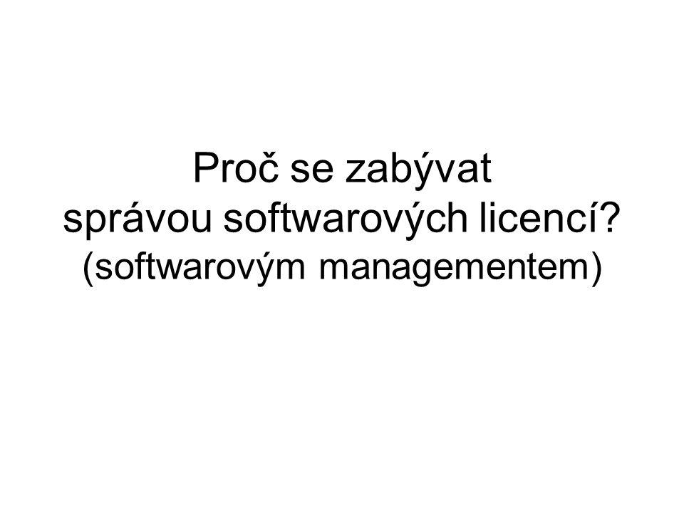 Under-Licensing Proč se zabývat správou softwarových licencí (softwarovým managementem)