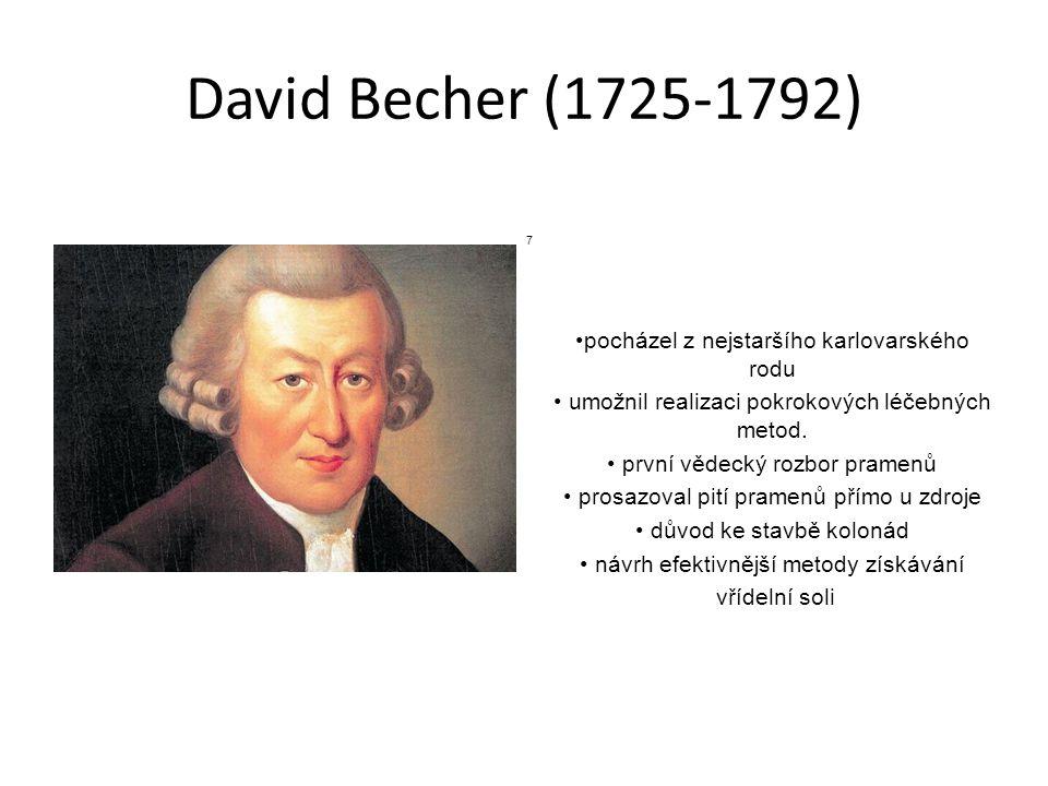 David Becher (1725-1792) pocházel z nejstaršího karlovarského rodu umožnil realizaci pokrokových léčebných metod. první vědecký rozbor pramenů prosazo